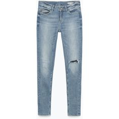 Zara Mid-Rise Jeans (150 GTQ) ❤ liked on Polyvore featuring jeans, pants, bottoms, light blue, zara jeans, medium rise jeans, blue jeans, light blue jeans and mid rise jeans