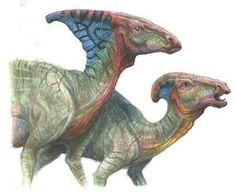 Male (right) and female (left) Parasaurolophus