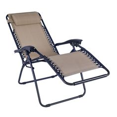 Adeco Outdoor Folding and Reclining Zero Gravity Curve Armrest Chair, Patio Furniture