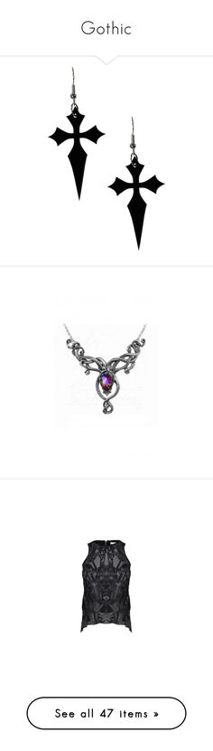 """Gothic"" by sollis ❤ liked on Polyvore featuring jewelry, earrings, accessories, goth, black, gothic jewellery, gothic jewelry, crucifix jewelry, crucifix earrings and gothic cross jewelry"