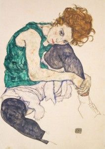 Egon Schiele_Siedząca kobieta ze zgiętym kolanem