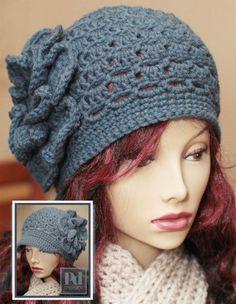 Ladie's 2-in-1 Eyelet Cloche Newsboy w/Large Flower Crochet PDF Pattern. $6.00, via Etsy.