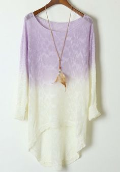 Light Purple Gradient Batwing Long Sleeve Wool Sweater