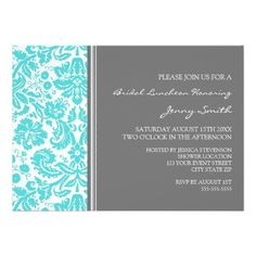 ReviewAqua Gray Damask Bridal Lunch Invitationin each seller & make purchase online for cheap. Choose the best price and best promotion as you thing Secure Checkout you can trust Buy best