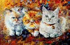 Leonid Afremov - Gatitos  pintura al óleo Animal espátula sobre lienzo por AfremovArtStudio