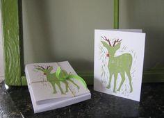 Original Handmade Linocut Rudolph Christmas Greeting Card Set by 30SilentMockingbirds, $12.00