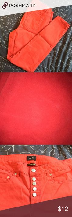 """Red high waisted pants These high waisted pants are hardly worn and a perfect statement piece for fall. 29"""" inseam.  Comes from a smoke free home. No modeling.  Happy shopping! Rue 21 Pants Skinny"""