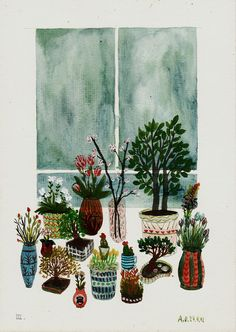 Love her potted plants. (Drawings by illustrator Angela Dalinger)