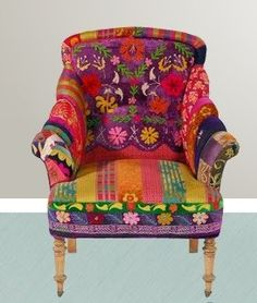 Vintage sari fabric chair--totally funky---Love it! Funky Furniture, Painted Furniture, Bohemian Furniture, Colorful Furniture, Furniture Design, Painted Dressers, Timber Furniture, Plywood Furniture, Chair Design