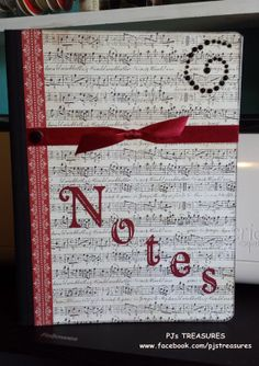 Altered Composition BookMusic Notes by pklimper on Etsy, $7.50