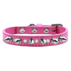 "Crystals and Silver Spikes Dog Collar - Bright Pink. The Crystals and Silver Spikes Dog Collar in Bright Pink will give your pup a tougher and stylish look!  One row of crystals and spikes 1/2"" Wide collar Made with faux leather Buckle collar  Why We Love It: Give you dog a fun punk look with the Crystals and Silver Spikes Dog Collar by Mirage! This 1/2"" wide collar with Crystals and Silver Spikes Dog Collar one row of alternating clear crystals and silver spikes on a bright pink faux…"