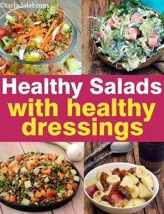 food healthy vegetarian - 62 Healthy Salads with healthy dressing, Tarla Dalal Veg Salad Recipes, Diet Recipes, Vegetarian Recipes, Cooking Recipes, Healthy Recipes, Salad Recipes By Tarla Dalal, Recipies, Healthy Vegetables, Vegetarian