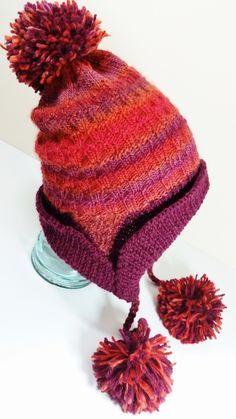 Loom Knit Pom Pom Ear Flap Hat