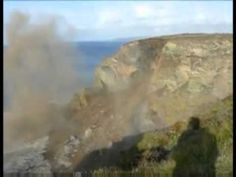 Whole Cliff Face Falling into the Atlantic Ocean Now in Slow Motion