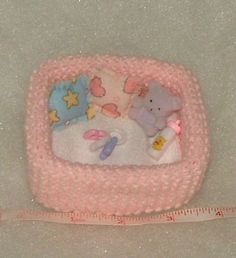 Hand Knit OOAK Baby Doll Cot Crib Playpen & accessories  *GIRL*