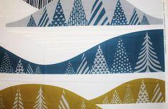 Marimekko fabric, Kultakero, olive/grey/blue, 145x50cm, by Sanna Annukka