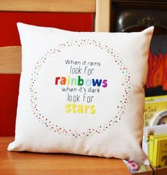 Rainbow quote cushion. Hand Embroidery by PixiecraftHandmade
