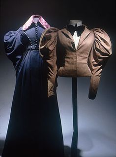 """(Left) Riding habit, ca 1830 United States, Museum of the City of New York    If you're curious, the one on the right is an American bicycling jacket from the 1890's."""