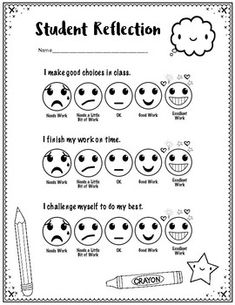 Student Self-Assessment with Emojis: Younger Elementary (Perfect for ART) Make School, School Social Work, Middle School, High School, Student Self Assessment, Student Behavior, Preschool Art Projects, Art Education Projects, Art Rubric