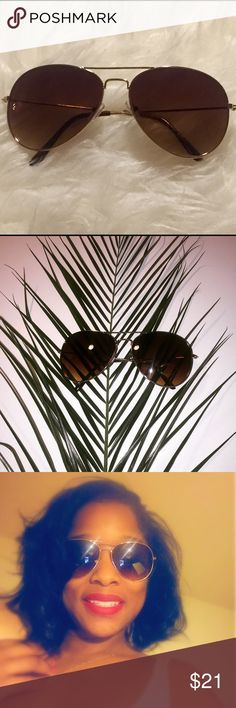 Premium Amber Gold Trim Aviator Sunglasses Brand new! Hot gold Aviator sunnies with amber lenses. Impact resistant with uv protection. Durable and excellent quality! Dress up or dress down. On trend, stylish and will make a great addition to your wardrobe. 😎 ☀️Offers accepted. Bundle and save! 😎☀️ Accessories Sunglasses