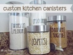 Custom Kitchen Canisters - she uses water-slide decal paper which you can use in your regular printer.  That way you can design any kind of label you want on your computer and click print or she includes free printables.