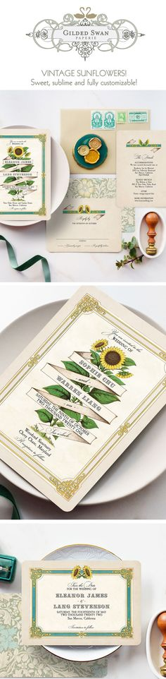 Sunflowers symbolize loyalty & longevity... like your marriage! This botanical wedding stationery suite design will surely set the tone of your wedding day! These vintage-inspired wedding invitations can be customized to match your own wedding colors... gold, teal, ivory, blush! So sweet and oh, so vintage, these botanical wedding invitations are available in full wedding suites, save the dates, programs, menus etc. Gilded Swan Paperie is your number one vintage wedding invitation source! Wedding Invitation Trends, Sunflower Wedding Invitations, Garden Wedding Invitations, Invitation Set, Custom Invitations, Boho Wedding, Rustic Wedding, Wedding Day, Botanical Wedding Stationery