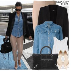 How To Wear Kim Kardashian Celebrity Airport Style Outfit Idea 2017 - Fashion Trends Ready To Wear For Plus Size, Curvy Women Over 20, 30, 40, 50
