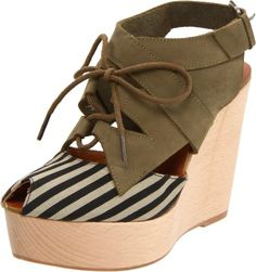 Click Image Above To Purchase: Maloles Women's Lenny Wood Wedge Peep Toe Sandal