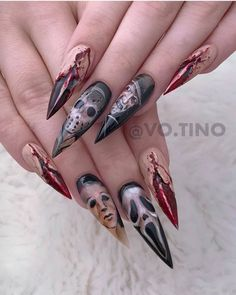 Who's your favorite Slasher —————————————————— Using all art gel and brush from. Halloween Nail Designs, Halloween Nail Art, Dark Nail Designs, Goth Nails, Goth Model, Horror Makeup, Crystal Shop, Goth Aesthetic, Dark Nails