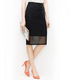Ann Taylor Mesh Pencil Skirt // Black pencil skirt with a peek-a-boo hem