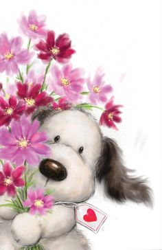 Cute Dog with Bunch of Flowers, Happy Valentine's Day card. Cards are shipped the Next Business Day. Happy Valentines Day Card, Happy Birthday Messages, Happy Birthday Images, Birthday Greetings, Birthday Wishes, Canvas Artwork, Canvas Art Prints, Illustration Mignonne, Cute Animal Illustration