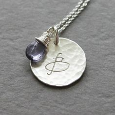 Personalized Silver Disc Necklace with Initial and Birthstone