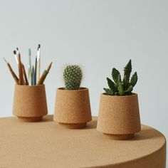 Stackable cork pot, perfect to use as a neat little cork desk tidy or as small plant pots, the ewa cork pot is a play on the traditional plant pot form.