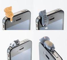 Tiny Feline Phone Plugs