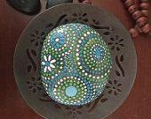 blue luminescence collection #8, blue, white, & green, Mandala design, home decor, garden decor, zen design, coffeetable art, painted stone