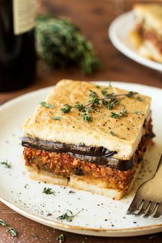 Vegan moussaka with creamy bechamel - Lazy Cat Kitchen Vegetarian Casserole, Vegetarian Recipes, Dairy Free Gourmet Recipes, Moussaka Recipe Vegetarian, Vegan Bean Recipes, Delicious Recipes, Vegan Moussaka, Eggplant Moussaka, Vegan Recipes