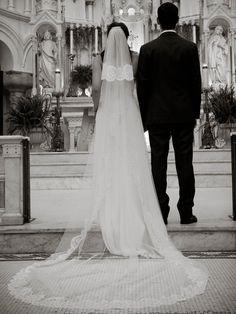 Catholic Church wedding with mantilla veil