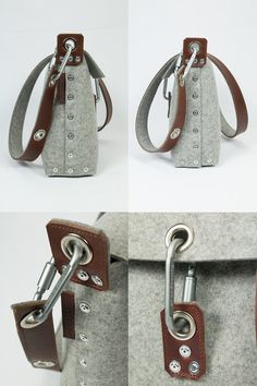 """Womans handbag which is handmade from 3 mm industrial wool felt, and is assembled using pop rivets. The strap is made from 100% vegetable tanned full-grain leather and backed with felt, which helps it slipping off your shoulder.  The front flap fastens with carabiner, and there are internal pockets for your phone and wallet.  Dimensions:  Length 10 / 25cm  Width 13 / 33cm  Depth 4"""" / 10cm  This bag, like all my items, are designed and made by myself in London, UK. I do not hold a huge amount…"""