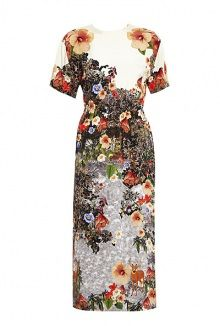 Decoy Flowers Gathered Waist Midi Dress by Mother of Pearl
