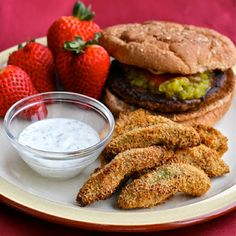 Avocado fries (baked) with cilantro ranch dipping sauce