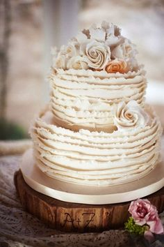 Pretty ruffled wedding cake... Personalized Cake serving sets... | http://thevineyard.carlsoncraft.com