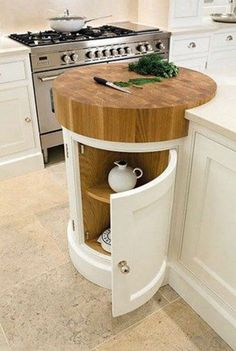 Coolest Idea Ever. Just a small spot to help prevent undue scratches if anyone is TEMPTED to cut anything WITHOUT a cutting board. Painted Kitchens - Painted Bespoke Kitchens - Tom Howley Most Popular Kitchen Design Ideas on 2018 & How to Remodeling Kitchen Decor, Kitchen Furniture, Kitchen Inspirations, Top Kitchen Designs, Small Kitchen, Kitchen, Kitchen Design, Kitchen Trends, Kitchen Renovation