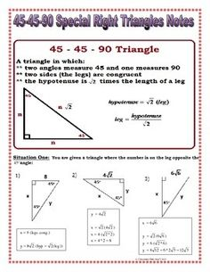 Worksheets Special Right Triangles 30 60 90 Worksheet Answers special right triangle note and triangles on pinterest 45 30 60 90 notes practice riddle bundle