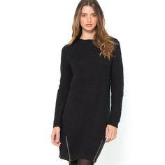 Long-Sleeved Biker-Style Knitted Dress