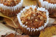 Pumpkin-Apple Pie Muffins Recipe Breakfast and Brunch, Breads with apples, pumpkin purée, eggs, applesauce, vanilla, honey, cinnamon, ginger, clove, nutmeg, salt, baking powder, coconut flour, walnuts