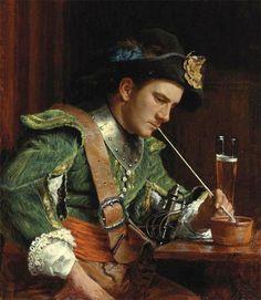 Jean-Louis-Ernest Meissonier, Soldado fumando una pipa en un interior, óleo sobre panel de madera, 16.5 x 14. 3 cm, 1867.