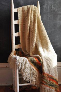 Vintage Knit Afghan Blanket Off white and Orange. $45.00, via Etsy.