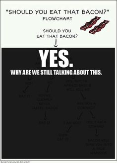 "Should you eat that bacon?  You have to enlarge it to read all the things under ""Yes"".  So funny"