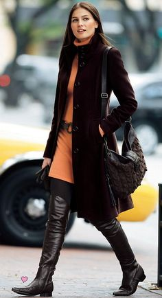 neutral earthy palatte with over the knee boots
