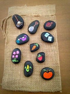 Garden Themed Story Stones by starrygirlb on Etsy Pebble Painting, Pebble Art, Stone Painting, Rock Painting, Stone Crafts, Rock Crafts, Arts And Crafts, Hand Painted Rocks, Painted Pebbles